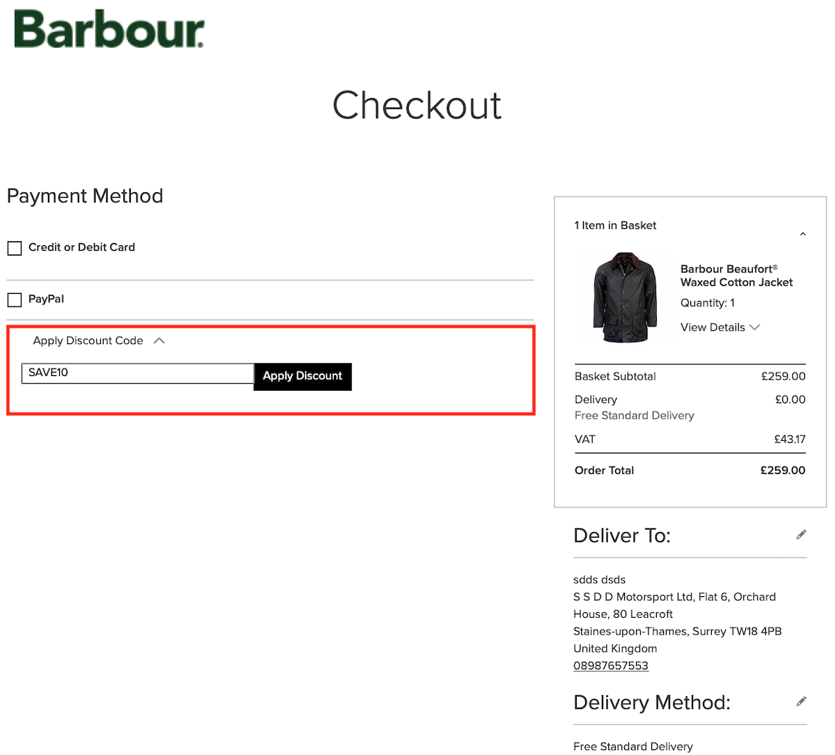 Barbour Discount Code - Voucher Code - How to instructions